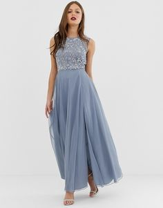 8a2cd4d4 DESIGN maxi dress with sleeveless embellished bodice