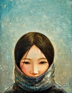 Blue Girl Painting  - Shijun Munns Fine Art Print