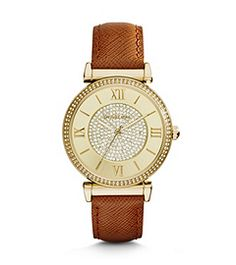 Talk about timeless. With a luxe leather band and gilded dial, Catlin is an everyday accessory you'll wear for a lifetime. This timepiece features just the right mix of old and new, with heritage details like Roman numerals and sparkling pavé accents.