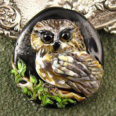 NEW Owl Lampwork Focal Bead by Kerribeads