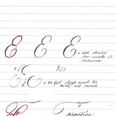 """Notes on letter E: (1) Shades help make a letter look balanced. Notice that the rightmost E has a heavier shade on the bottom curve. Avoid that. Thickness of shades in a letter form must be consistent."