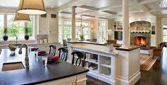 Best Open Concept Kitchen Living Room Design Ideas - Page 16 of 43 Living Room And Kitchen Design, Kitchen Family Rooms, Living Room Designs, Open Concept Kitchen, Open Kitchen, Kitchen Island, Kitchen Floor, Kitchen Cabinets, Concept Kitchens