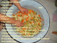 Csalamádé receptje kg kg kg kg… Hungarian Recipes, Hungarian Food, Ketchup, Preserves, Pickles, Main Dishes, Food And Drink, Vegetarian, Favorite Recipes