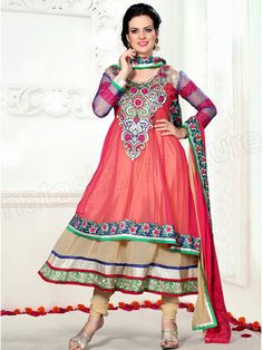#Designer Anarkali #Pink & Cream #Indian Wear #Desi Fashion #Natasha Couture #Indian Ethnic Wear # Salwar Kameez #Indian Suit