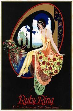 "kittyinva: "" Kittyinva: 1920′s Ruby Ring silk stockings ad. """