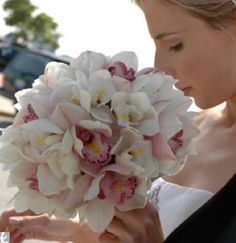White & pink orchid bouquet