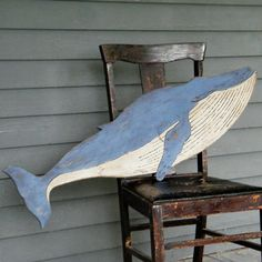 Wooden Whale Wall Art painted wood whales wall art, set of 3 #potterybarn | coastal home