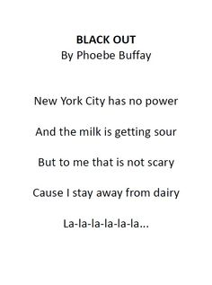 Black Out by Phoebe Buffay from The One with the Blackout