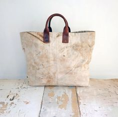 Handmade large canvas tote bag