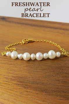 Freshwater Pearl Bracelet. Choose whether you want gold, silver, or bronze chain paired with the real pearls for a simple, yet beautiful piece of jewelry. #pearljewelry
