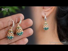 Seed Bead Earrings, Polymer Clay Earrings, Beaded Earrings, Earring Tutorial, Beaded Jewelry Patterns, Bead Jewellery, Beads And Wire, Jewelry Making, Handmade Jewelry