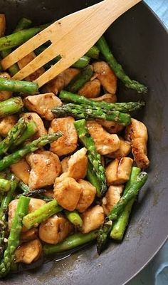 "Dinner Chicken and asparagus lemon stir fry ""...would have to modify to make clean but would make a great no carb dinner"" 1 1/2 pounds skinless chicken breast, cut into 1-inch cubes Kosher salt, to taste 1/2 cup reduced-sodium chicken broth 2 tablespoons reduced-sodium shoyu or soy sauce (or Tamari for GF) 2 teaspoons cornstarch 2 tablespoons water 1 tbsp canola or grapeseed oil, divided 1 bunch asparagus, ends trimmed, cut into 2-inch pieces 6 cloves garlic, chopped 1 tbsp fresh ginger 3…"
