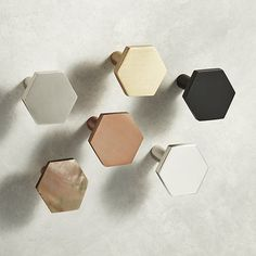 Popular in bathrooms and kitchens, the hexagon adds a sophisticated graphic element to doors and drawers. Handmade of solid brass, knob ups the design factor of existing cabinets. Hex Knobs is a exclusive. Knobs And Handles, Drawer Knobs, Kitchen Knobs And Pulls, Cupboard Knobs, Home Remodeling Diy, Kitchen Remodeling, Kitchen Hardware, Minimalist Decor, My New Room