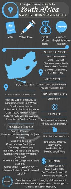 Divergent Travelers Travel Guide, With Tips And Hints To South Africa . This is your ultimate travel cheat sheet to South Africa. Places To Travel, Travel Destinations, Travel Tips, Holiday Destinations, Travel Guides, Nice Travel, Africa Destinations, Beach Travel, Travel Photos