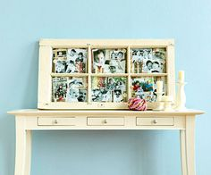"Use an old window frame (found in antiques stores) as a frame to show off love ones. Gather pieces of chipboard the size of each pane to use as ""pages."" Cover the chipboard with patterned paper, then add pictures and embellishments. Attach your completed chipboard ""pages"" to the back of the window panes with a staple gun. For a finishing touch, add rub-on words or phrases to the glass panes."