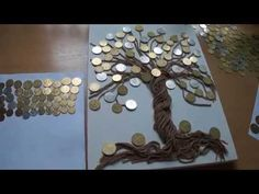 денежное дерево - YouTube Handmade Crafts, Diy And Crafts, Crafts For Kids, Arts And Crafts, Art N Craft, Craft Stick Crafts, Glue Art, Plastic Canvas Coasters, Coin Art