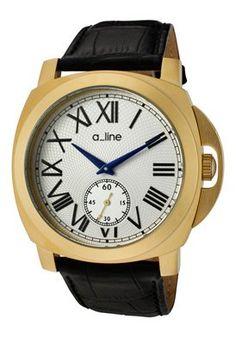a_line Women's 80007-YG-02-BK Pyar Silver Textured Dial Black Leather Watch
