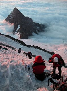 Winter mountain climbing.