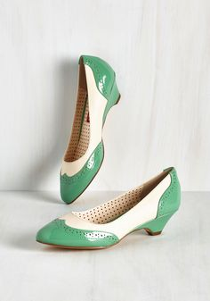Sweet Spectator Heel in Jade. Peruse the national bake-off grounds, admiring mouthwatering recipes as tasteful as your vintage-inspired kitten heels by Bait Footwear.  #modcloth