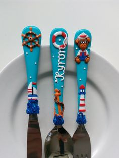 Personalized Name Kids Cutlery Set Light Blue by PetitArtStudio