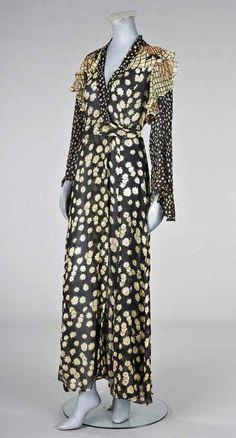 An Ossie Clark/Celia Birtwell black chiffon wrap-over dress, circa 1970,