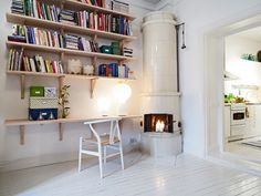 More small space inspiration. Bookshelf + desk in one.