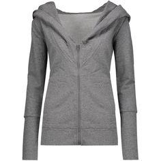 Norma Kamali Cotton-blend hooded sweatshirt (€91) ❤ liked on Polyvore featuring tops, hoodies, grey, zip hoodies, loose tops, grey hoodies, grey top and gray hoodies