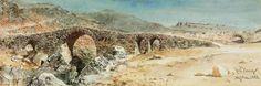 Eski Kızılçullu Köprüsü, Buca, İzmir. Günümüze kadar gelememiştir. Eskiden Eşrefpaşa'dan Buca ve dolayısıyla da Kızılçullu'ya gidilirken bu ince, taştan köprü kullanılıyormuş. Tarih: 1858, Sanatçı: Carl Haag. / The ancient bridge at Smyrna, Turkey, 1858. Carl Haag (German, 1820–1915).