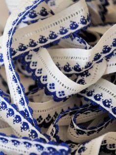 Scandinavian Embroidered Ribbon ~ blue and white.