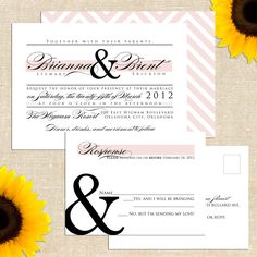 Brianna Wedding Invitation with Postcard by YellowBrickGraphics