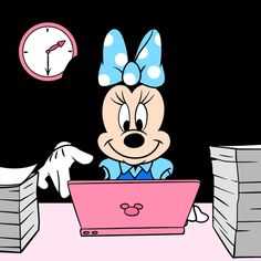 """Minnie finishing her paperwork, closing her laptop and heading her way out for the day"" Minnie Mouse Images, Mickey Mouse Wallpaper, Mickey Mouse Head, Cute Disney Wallpaper, Mickey Mouse And Friends, Disney Cartoon Characters, Disney Cartoons, Memes Gifs, Cute Patterns Wallpaper"