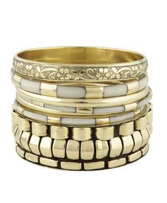 Ivory and Gold Bangle Set