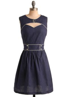 Ready and Rarin' to Go Dress in Navy, #ModCloth