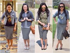 Stripe skirt outfit