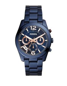 Fossil Perfect Boyfriend Stainless Steel Bracelet Watch Women's Blue
