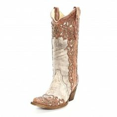 Corral Sand Laser Tooled Cowgirl Boots
