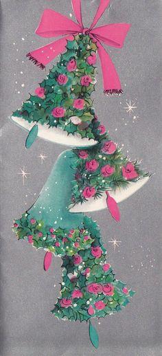 Vintage Greeting Card Christmas Bells Pink Blue Flowers Mod I868 | eBay