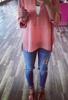 Spring Outfit - Sheer Top - Jeans - Sandals