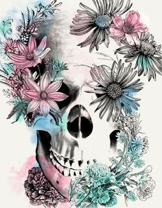 skull / flowers / blue / pink / white / illustration