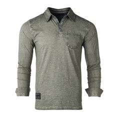 953d70bbb0f1a0 ZIMEGO Mens Long Sleeve Oil Wash Vintage Henley Button Cuffs Pocket Polo T