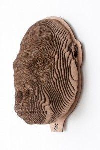 Gorilla. Cardboard head of animal.