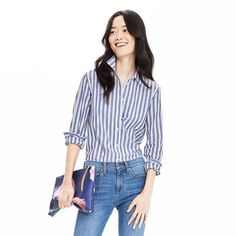 Rank & Style - Banana Republic Dillon-Fit Vertical Stripe Shirt #rankandstyle