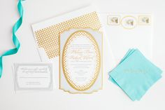 French Flair: we love the #gold and #aqua in this #french inspired invitation by #magnificentmilestones - Photography by Amanda Hein Photography