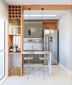 Kitchen Room Design, Home Room Design, Modern Kitchen Design, Dining Room Design, Kitchen Layout, Interior Design Kitchen, Interior Exterior, Kitchen Ideas, Small Apartment Kitchen