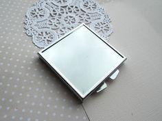 Square DIY Craft Silver Compact Mirror. $4.00, via Etsy.