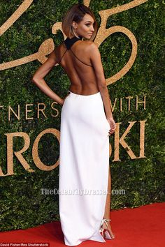 Jourdan Dunn Sexy Black And White Evening Dress 2015 British Fashion Awards TCD6424
