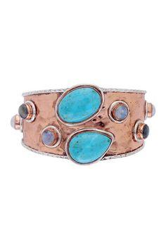 Hammered Copper Gemstone Cuff Bangle on HauteLook Hilary Joy
