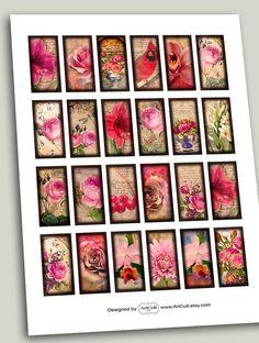 SUMMER GARDEN 1x2 inch dominoes Digital Collage Sheets by ArtCult