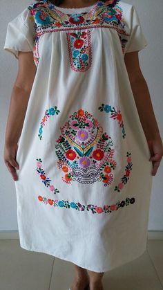 Embroidery mexican Dress Boho chic dress Folk by MXArtsCrafts
