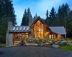 Rustic House Design: Cedar Haven Residence: Beautiful Night View Cedar Haven Facade Stone Chimney